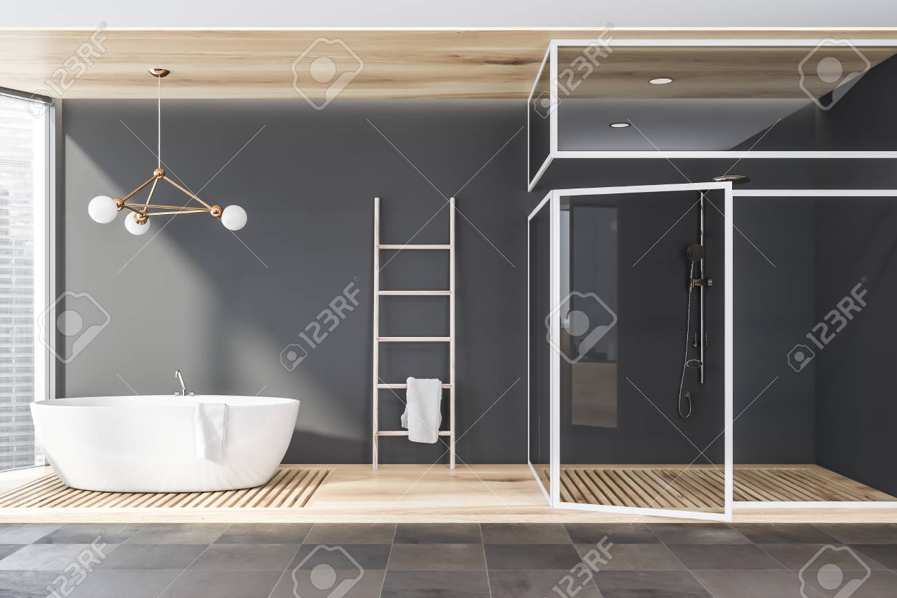 . Interior of modern bathroom with gray walls  tiled and wooden