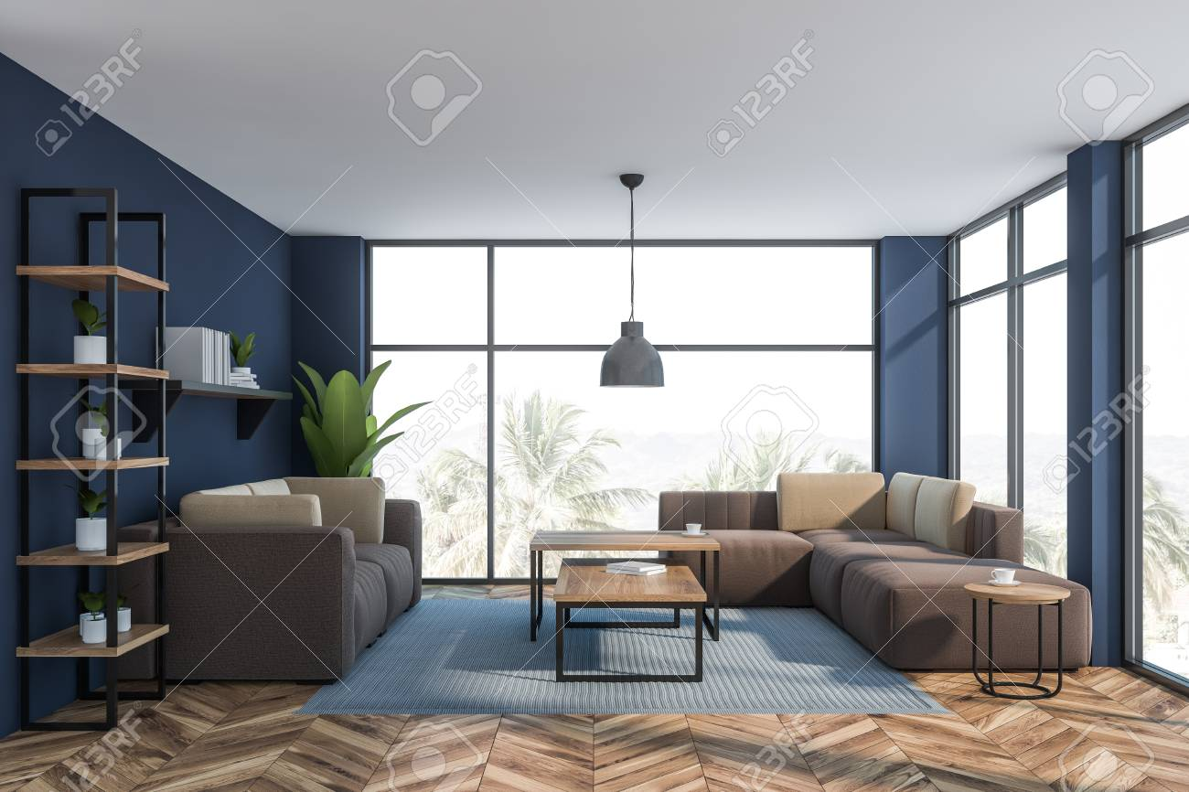 Interior of luxury living room or office lounge area with dark..