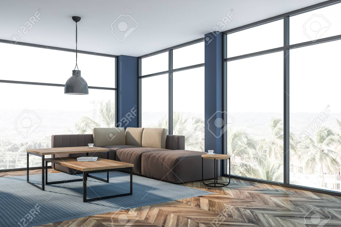 Interior Of Luxury Living Room With Blue Walls Large Windows Stock Photo Picture And Royalty Free Image Image 123580392