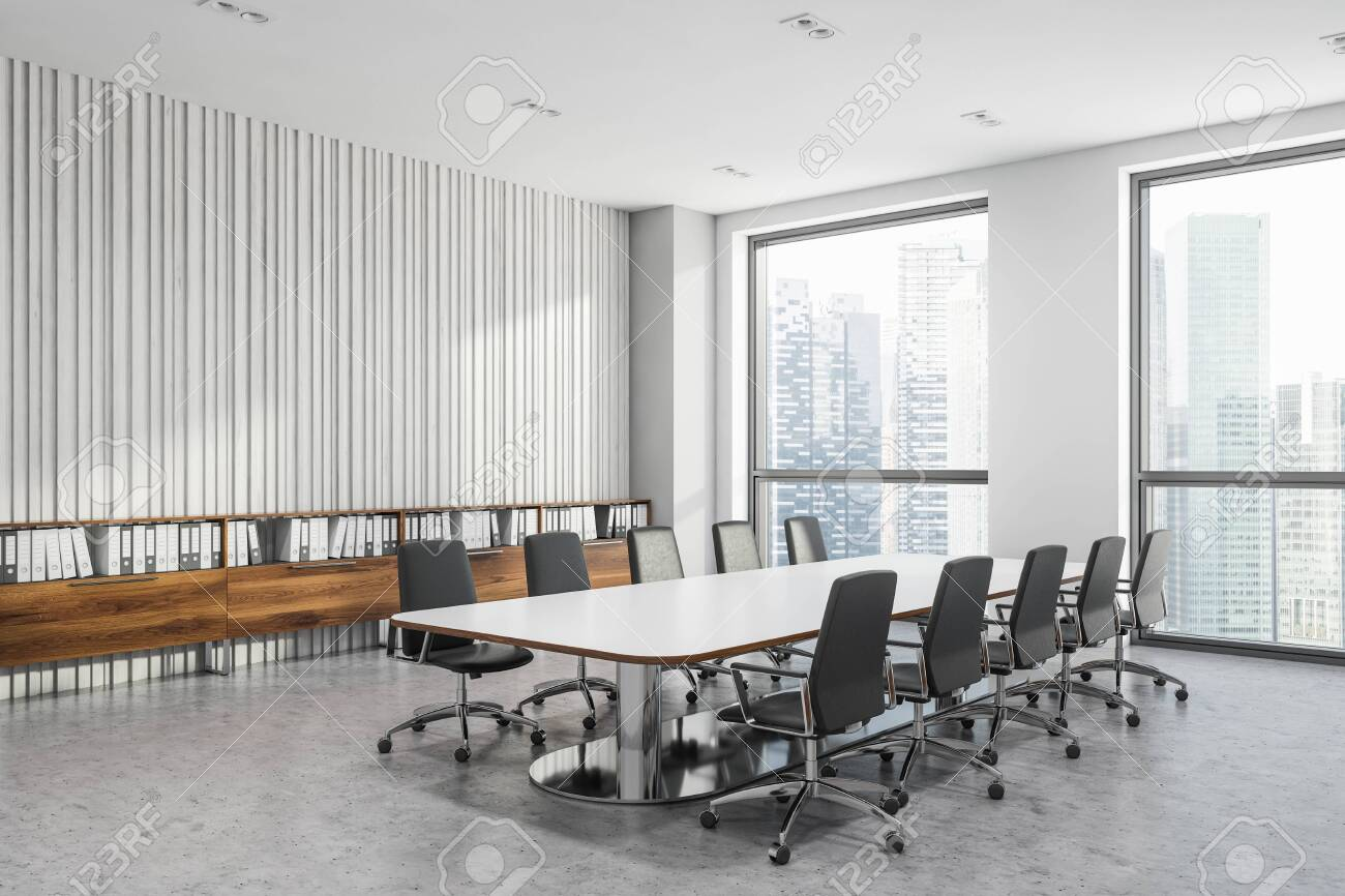 Picture of: Corner Of Modern Office Meeting Room With White And White Wooden Stock Photo Picture And Royalty Free Image Image 123581438