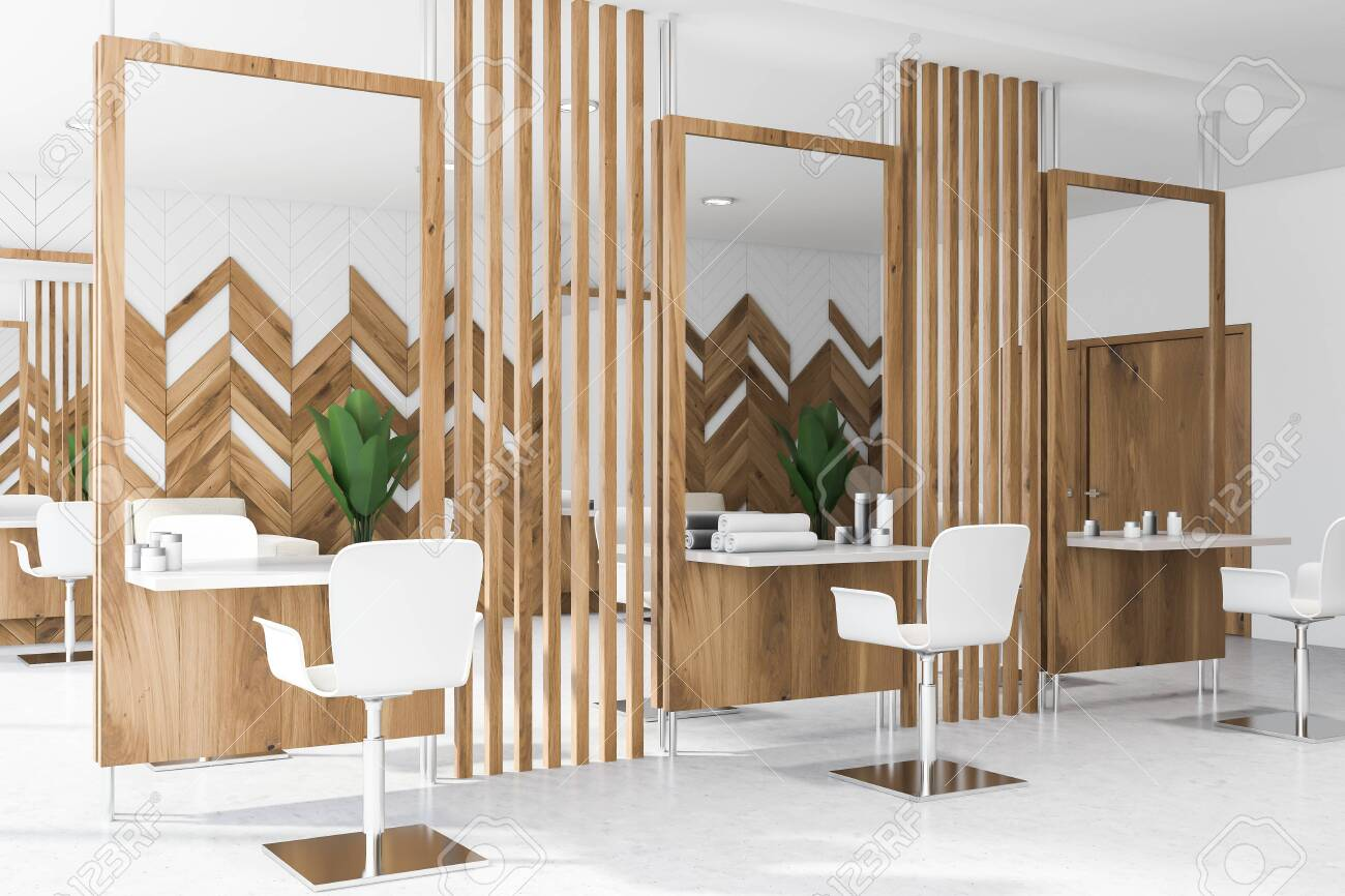 Beauty Salon Or Barber Shop Interior Design With White And Wooden Stock Photo Picture And Royalty Free Image Image 123582874
