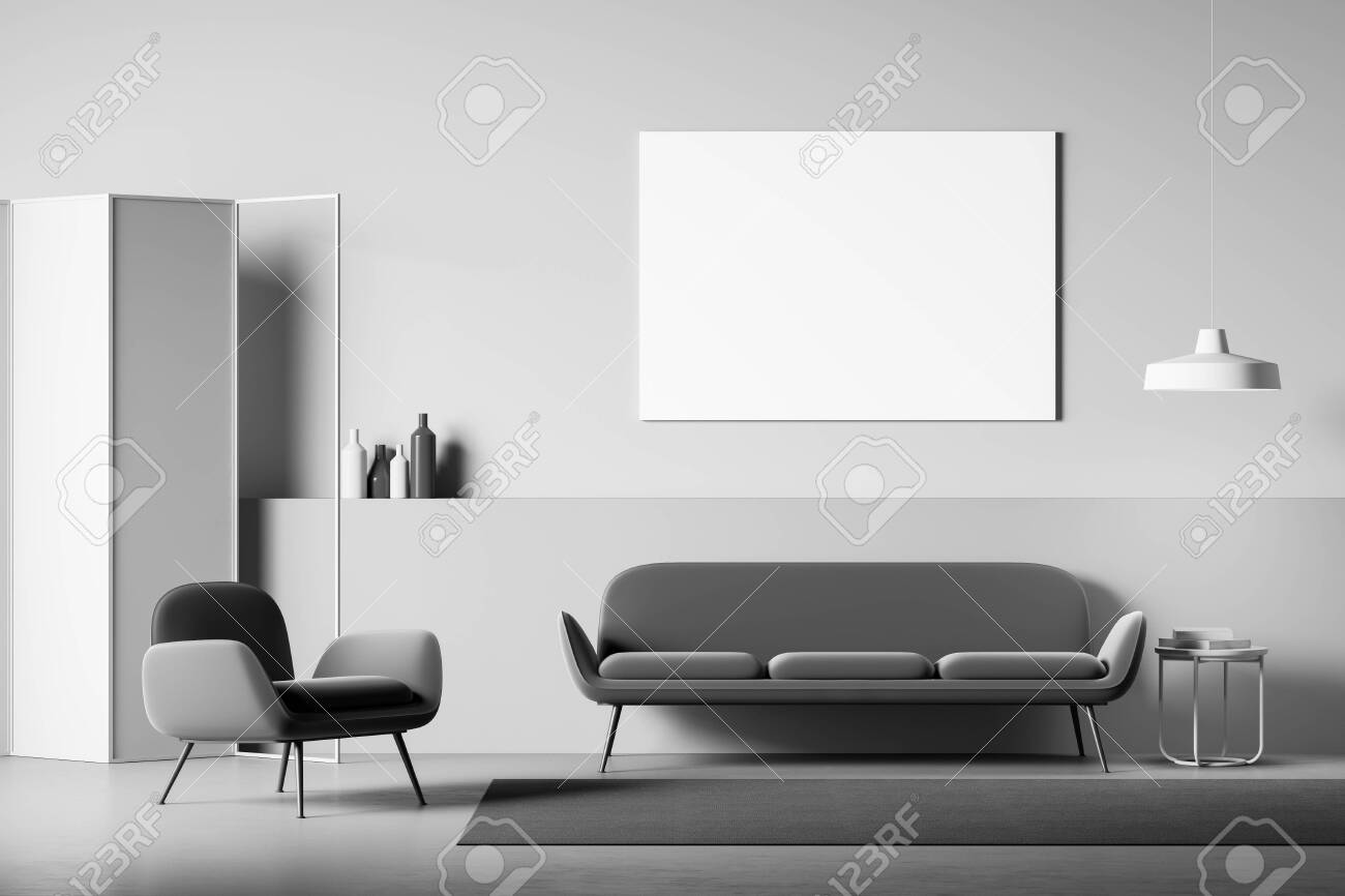 Fabulous Interior Of Modern Living Room With Light Gray Walls And Floor Machost Co Dining Chair Design Ideas Machostcouk