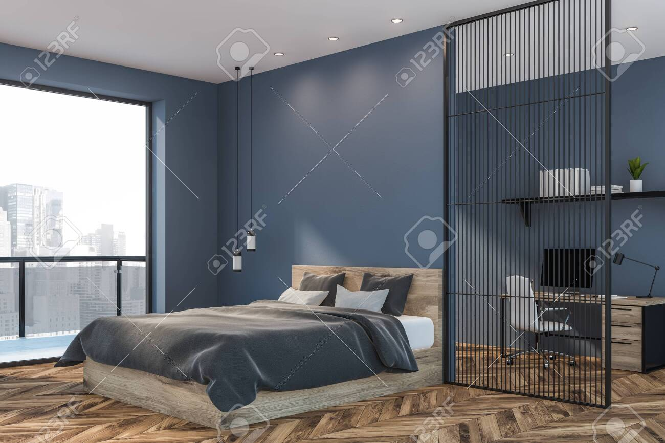 Corner Of Master Bedroom With Blue Walls Wooden Floor Wooden Stock Photo Picture And Royalty Free Image Image 124086451