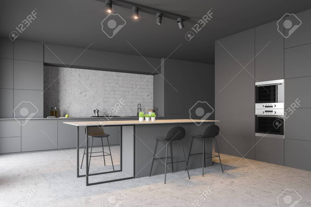 Corner Of Modern Kitchen With Concrete Walls And Floor Gray Stock Photo Picture And Royalty Free Image Image 124512249