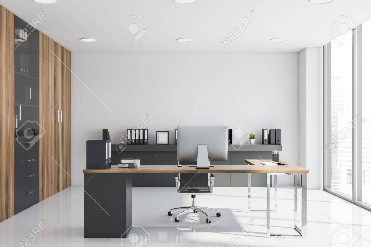 - Interior Of CEO Office With White Walls, Tiled Floor, Gray And
