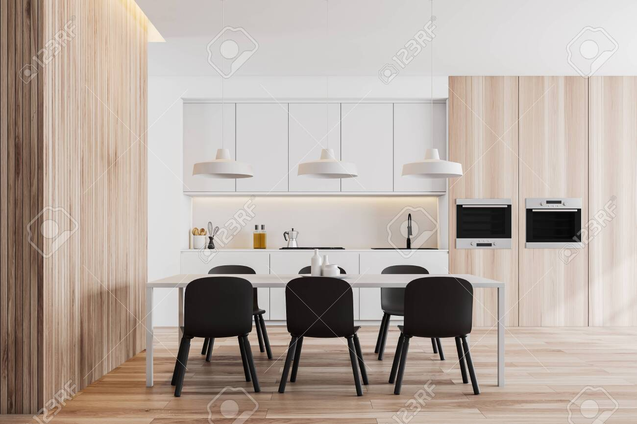 Picture of: Interior Of Modern Kitchen With White And Wooden Walls White Stock Photo Picture And Royalty Free Image Image 124512373