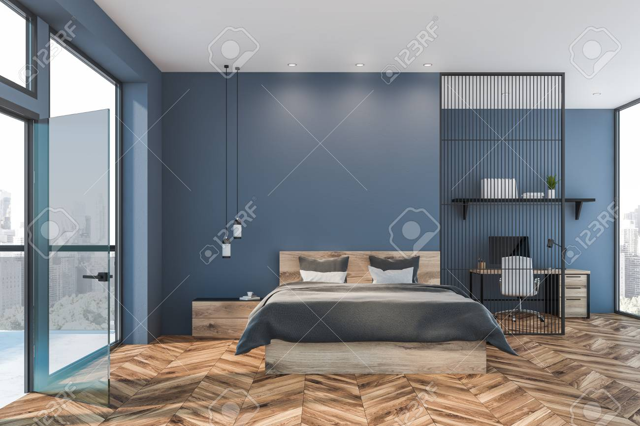 Interior Of Master Bedroom With Blue Walls Wooden Floor Wooden Stock Photo Picture And Royalty Free Image Image 124676591