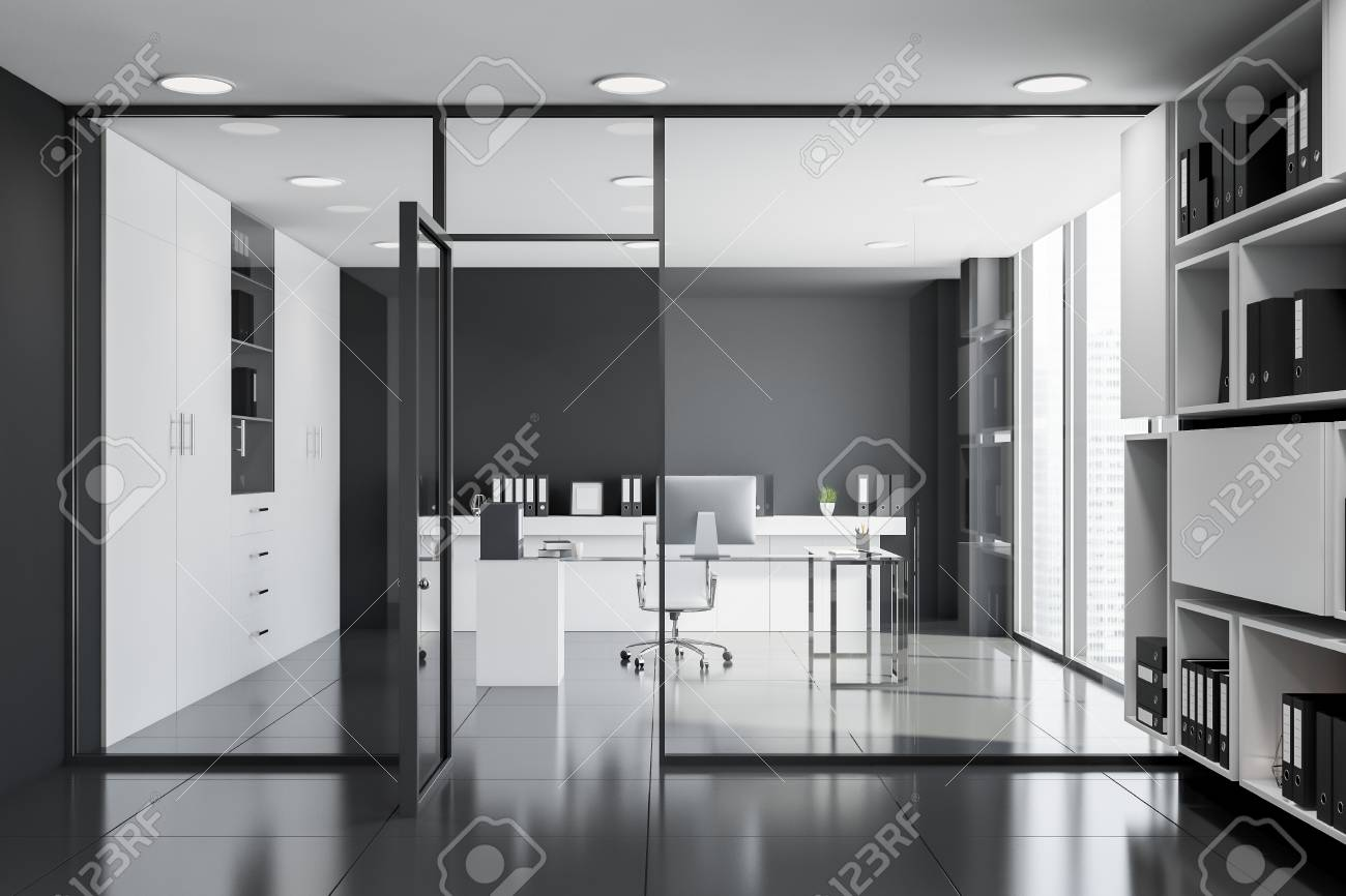 Interior Of Black And White Ceo Office With Tiled Floor Glass