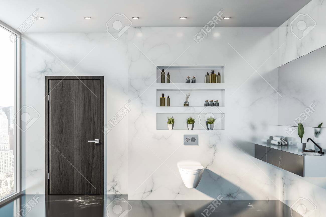 Fabulous Interior Of Stylish Bathroom With White Marble Walls Black Marble Download Free Architecture Designs Lukepmadebymaigaardcom