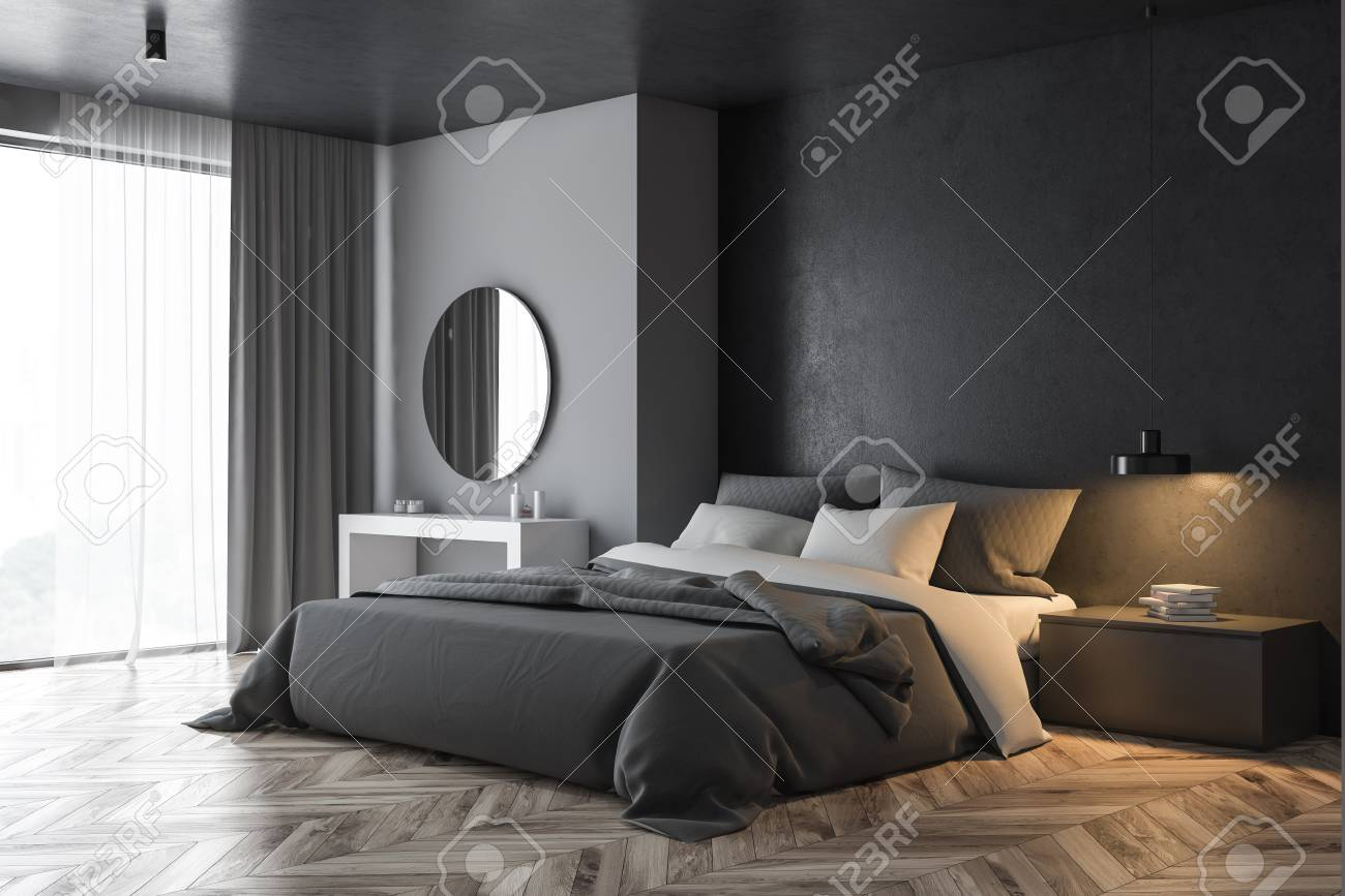 Corner Of Modern Bedroom With Gray And Black Walls Wooden Floor Stock Photo Picture And Royalty Free Image Image 124681863