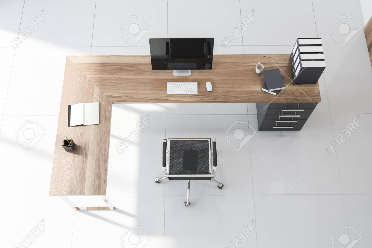 Top view of CEO office with tiled floor, wooden computer table..