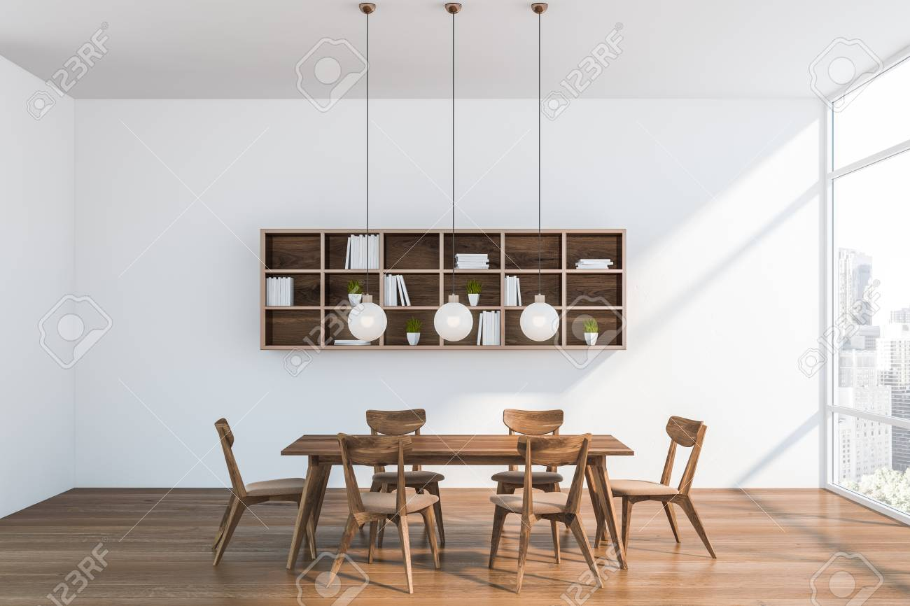 Interior Of Modern Dining Room With White Walls Wooden Floor