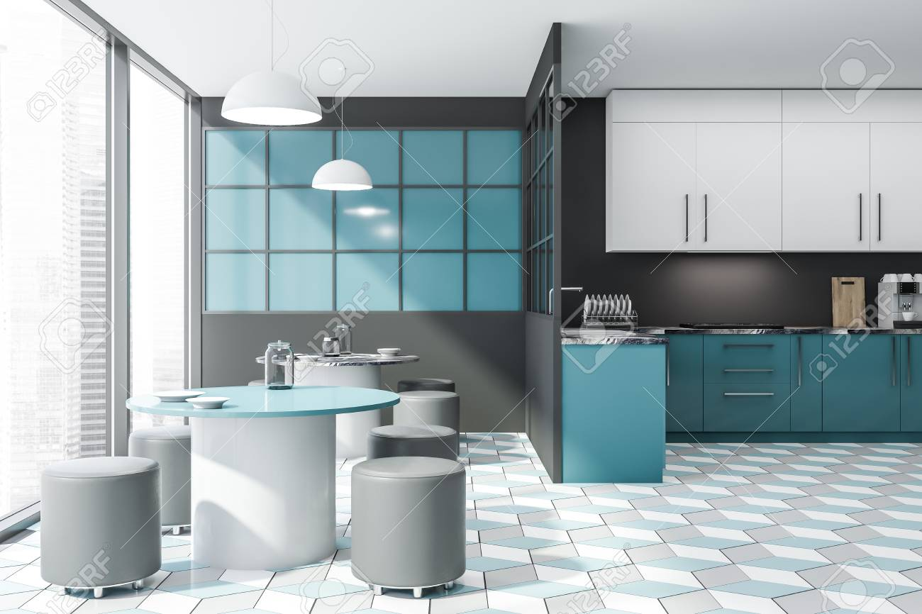 Interior Of Stylish Kitchen With Gray And Blue Walls Tiled Floor