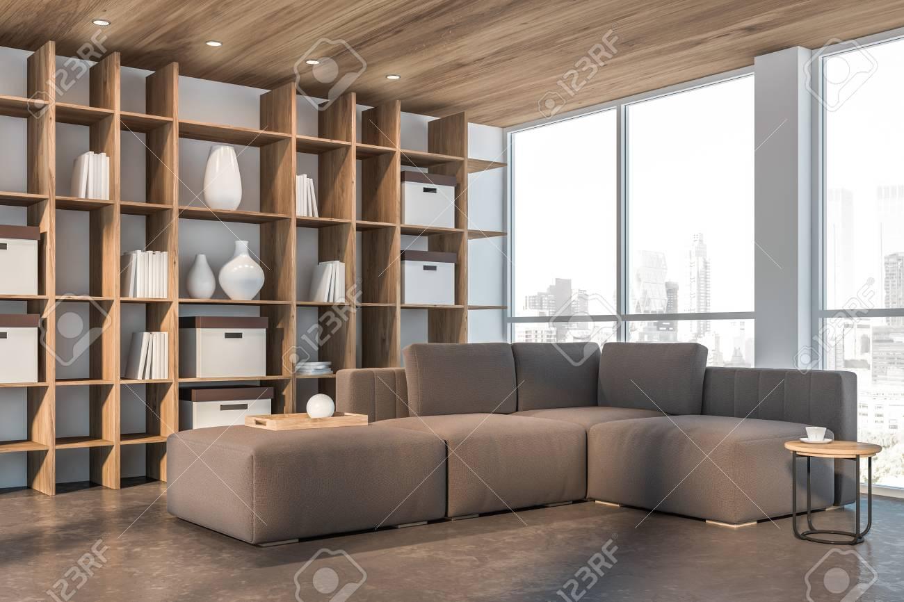 Wondrous Corner Of Minimalistic Living Room With White Walls Concrete Inzonedesignstudio Interior Chair Design Inzonedesignstudiocom