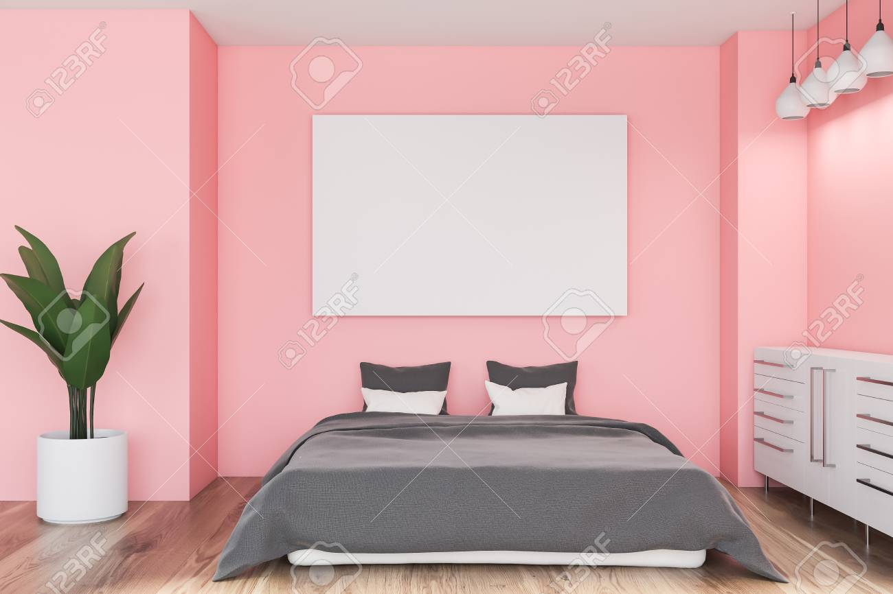 Interior of minimalistic bedroom with pink walls, wooden floor,..