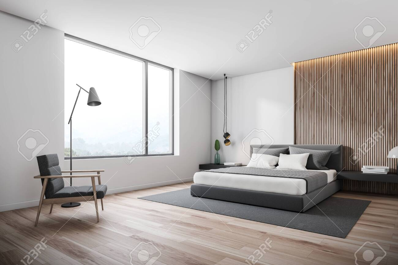 Corner Of Minimalistic Bedroom With White And Wooden Walls Wooden Stock Photo Picture And Royalty Free Image Image 124973298