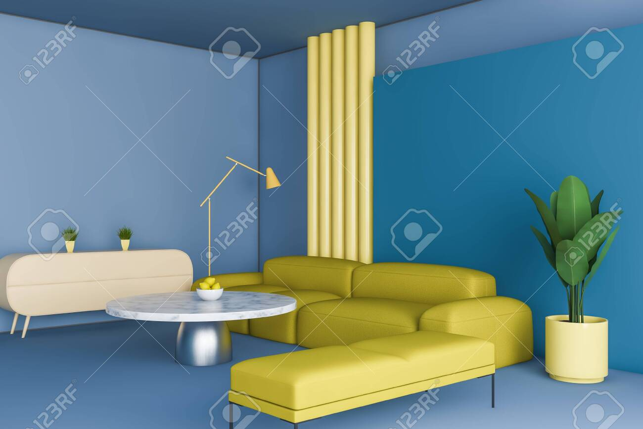 Bright Corner Of Living Room With Blue Walls And Floor Yellow Stock Photo Picture And Royalty Free Image Image 124973324