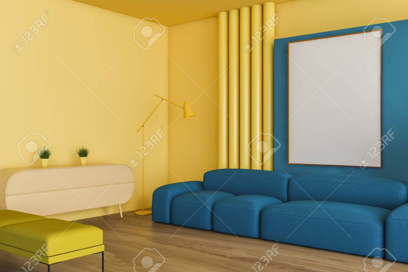 Bright Corner Of Living Room With Yellow And Blue Walls Wooden Stock Photo Picture And Royalty Free Image Image 124974529