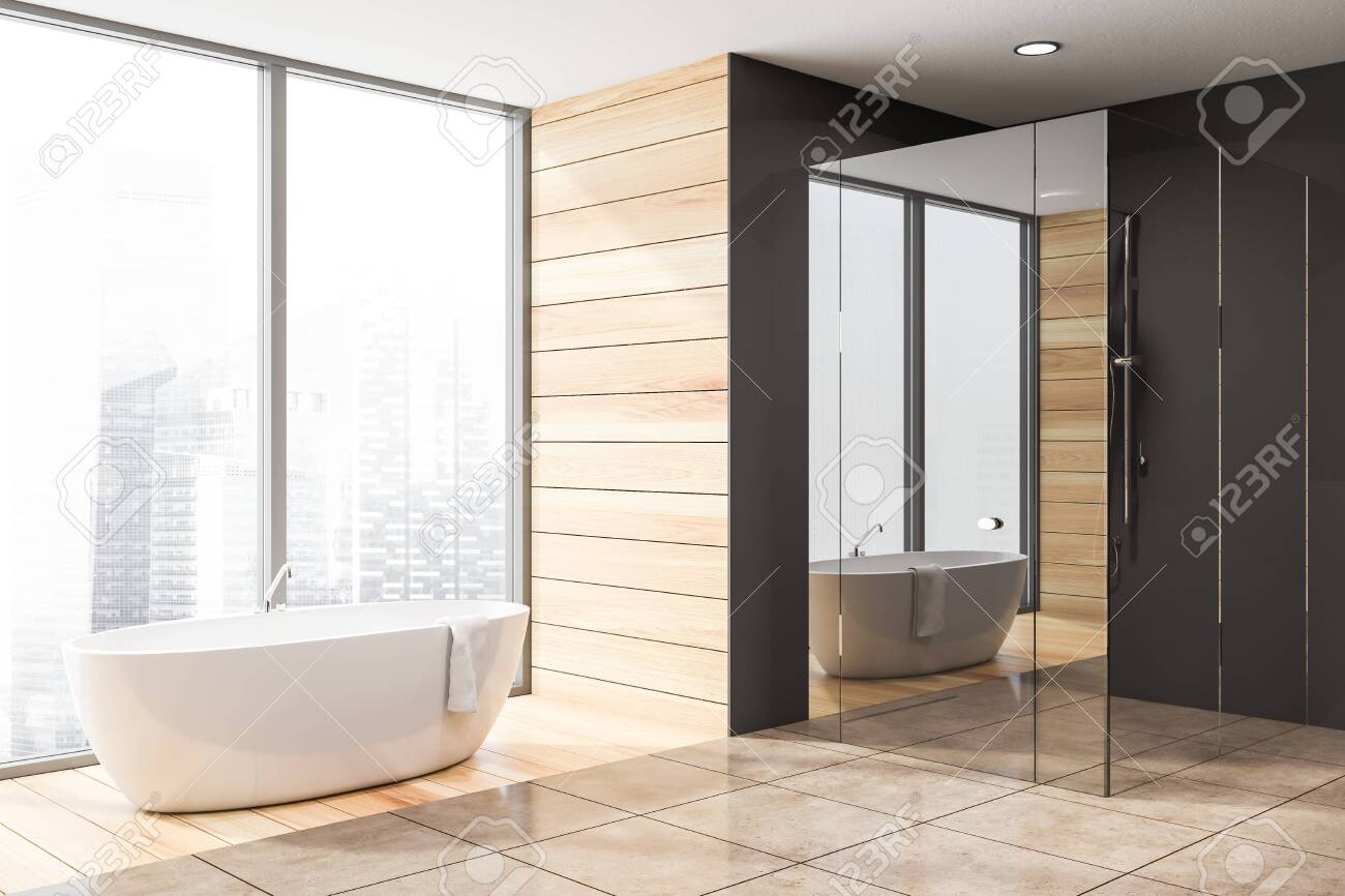 Interior Of Stylish Bathroom With Dark Gray And Wooden Walls