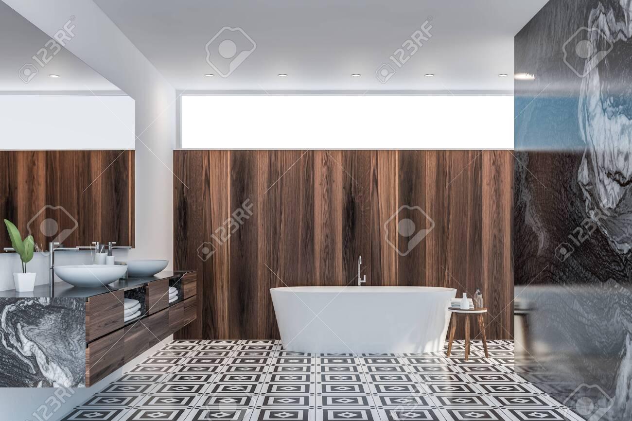 00c37e3c81dea Interior of modern bathroom with white, black marble and dark..