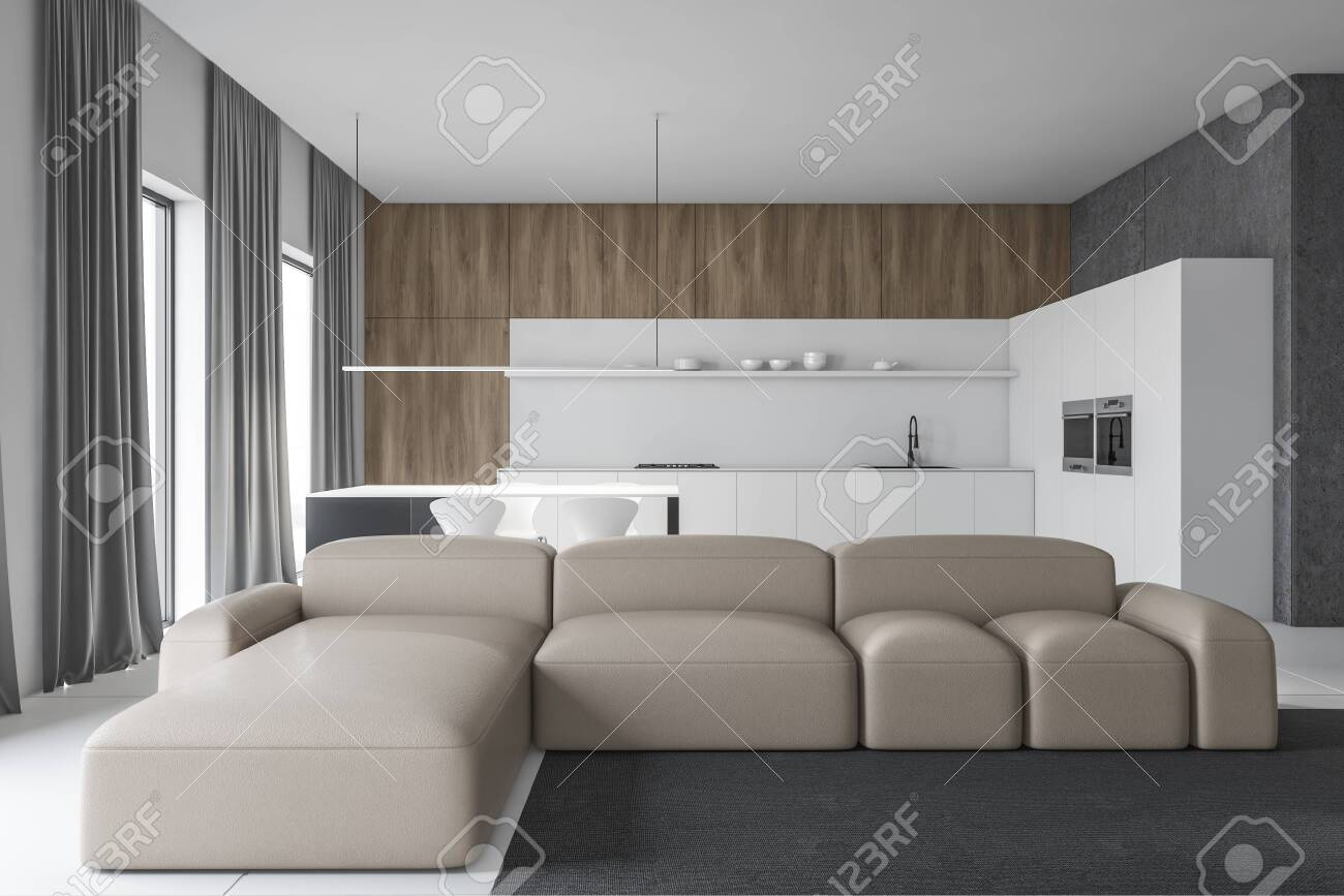 Interior Of Modern Living Room With White Concrete And Wooden Stock Photo Picture And Royalty Free Image Image 126508969