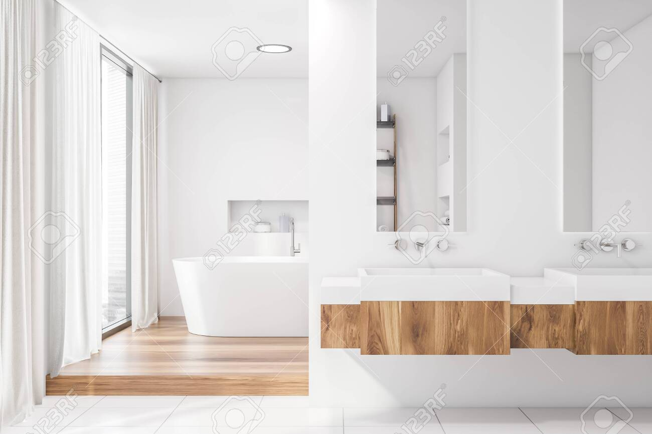 Interior Of Modern Bathroom With White Walls Large Windows With Stock Photo Picture And Royalty Free Image Image 126509417