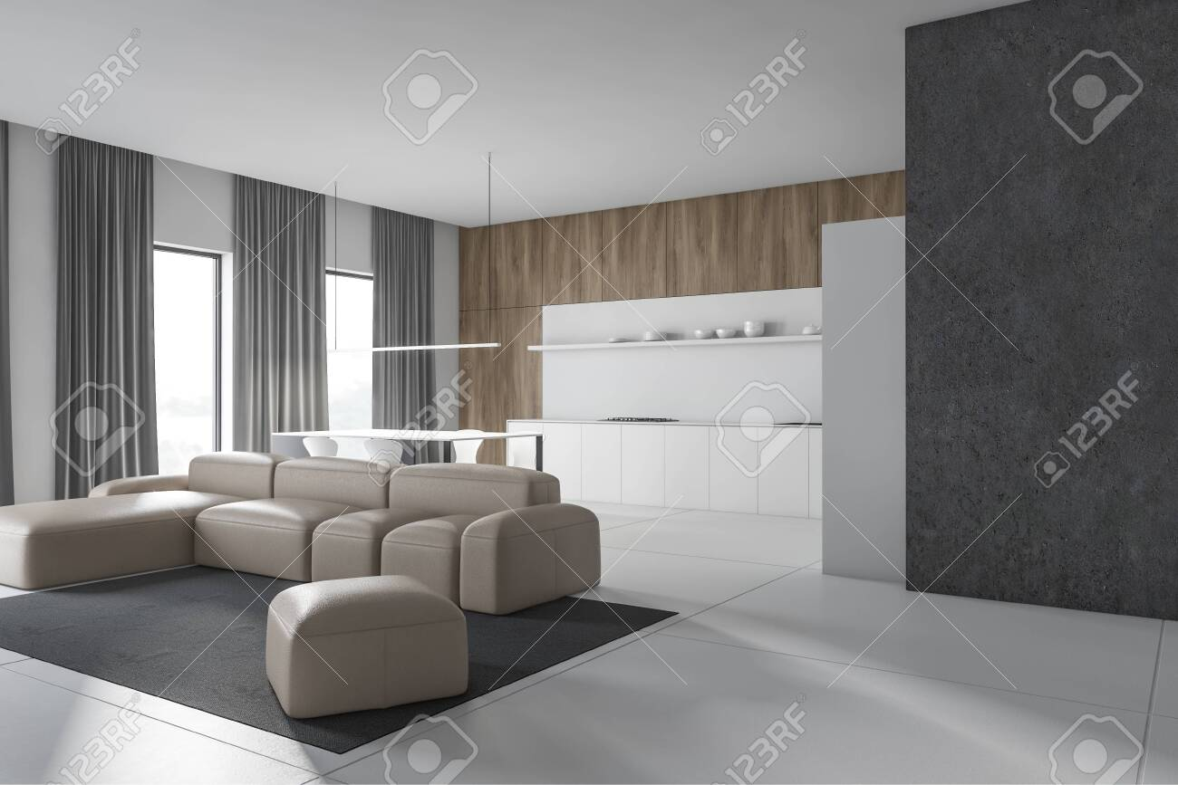 Corner Of Modern Living Room With White Concrete And Wooden Stock Photo Picture And Royalty Free Image Image 127058799