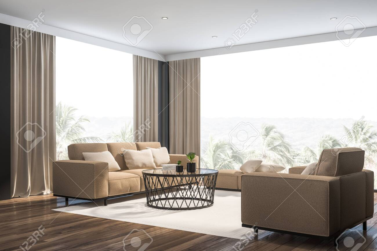 Corner Of Stylish Living Room With Gray Walls Wooden Floor