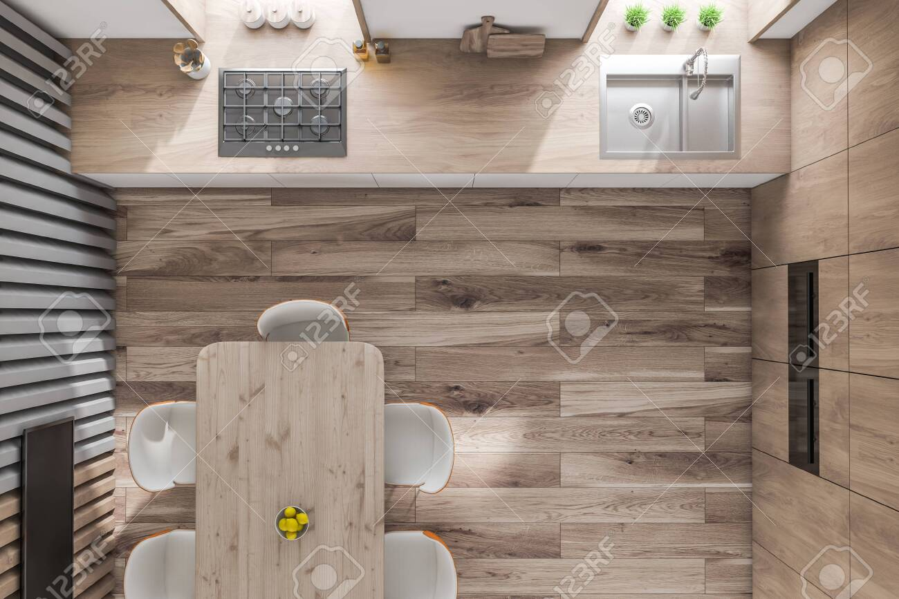 Top view of modern kitchen with wooden walls and floor, white..