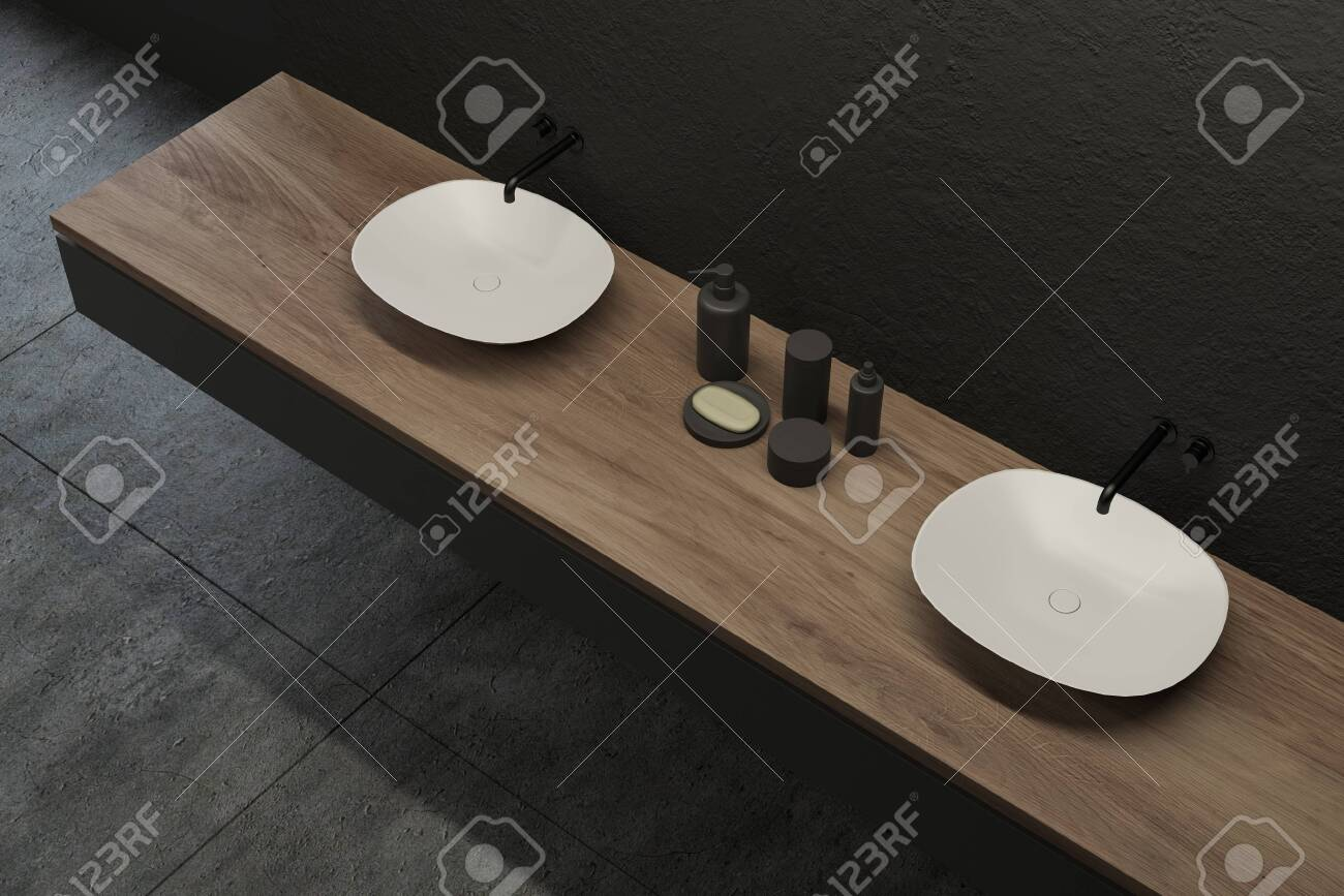 Top View Of Modern Bathroom With Gray Walls Tiled Floor And Stock Photo Picture And Royalty Free Image Image 127368019