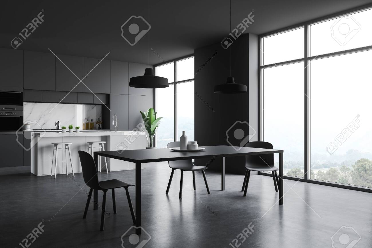 Corner Of Stylish Kitchen With Gray And Marble Walls Concrete Stock Photo Picture And Royalty Free Image Image 128412057