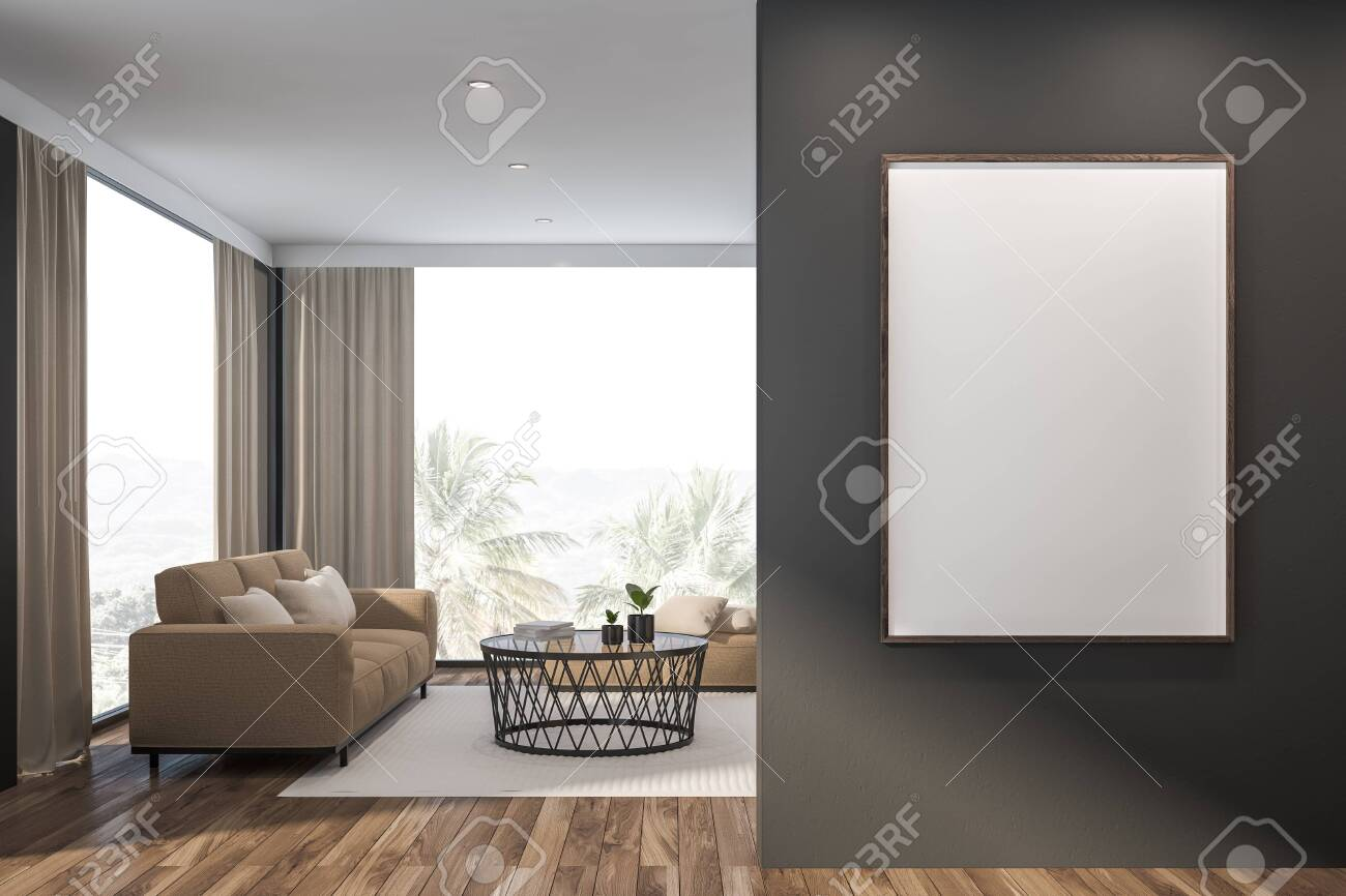 Enjoyable Interior Of Panoramic Living Room With Gray Walls Wooden Floor Dailytribune Chair Design For Home Dailytribuneorg