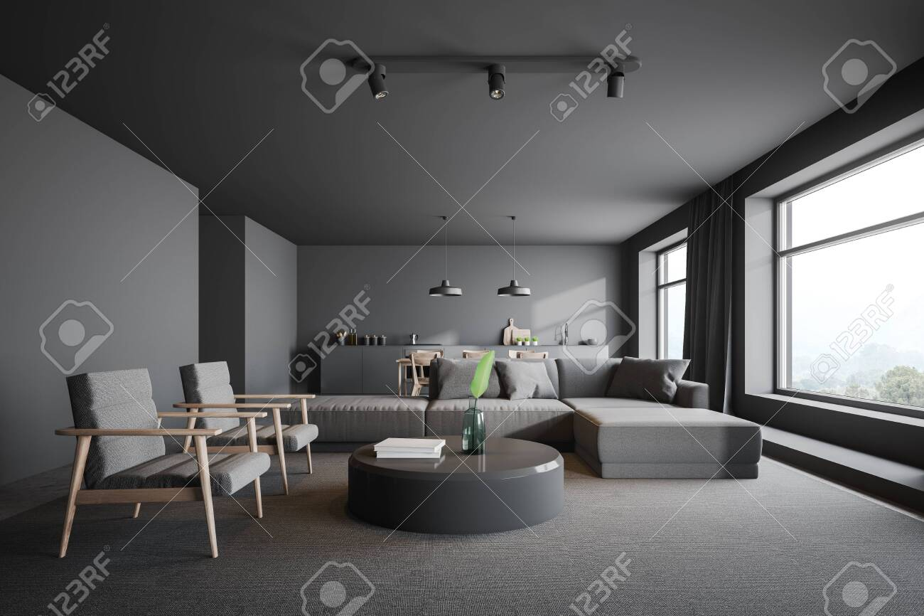 Interior Of Modern Living Room With Gray Walls Carpet On The