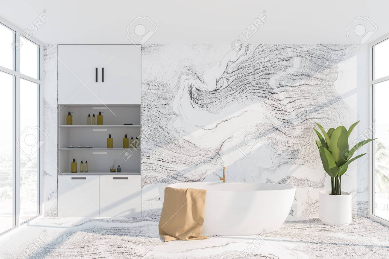 Interior Of Luxury Bathroom With White Marble Walls And Floor Stock Photo Picture And Royalty Free Image Image 127789035