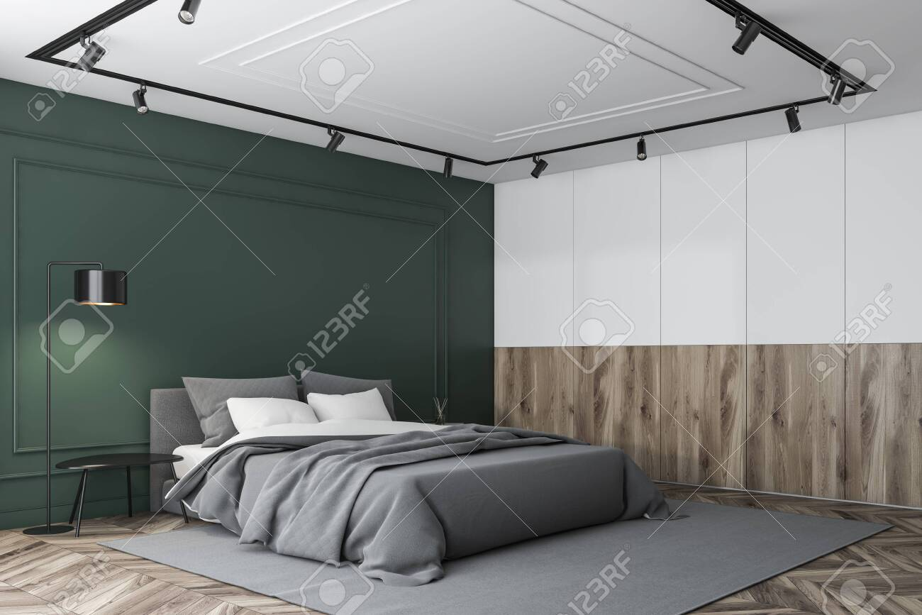 Corner Of Luxury Master Bedroom With White Green And Wooden Stock Photo Picture And Royalty Free Image Image 127789993