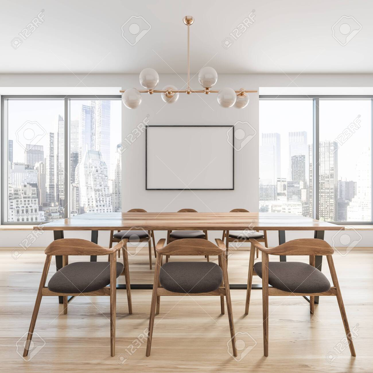 Picture of: Side View Of Stylish Dining Room With White Walls Wooden Floor Stock Photo Picture And Royalty Free Image Image 128447813