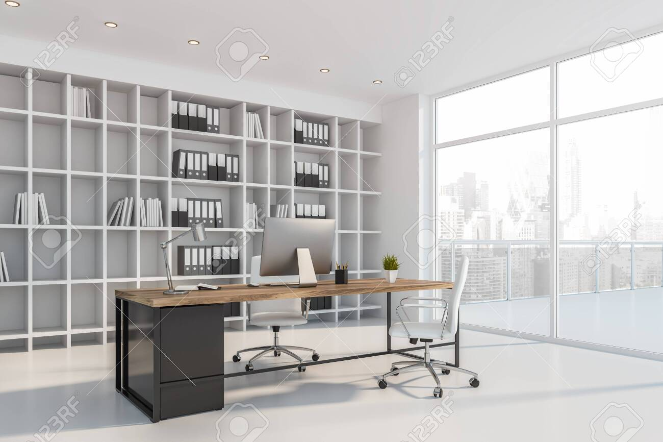 Corner of luxury empty CEO office with white walls and floor,..