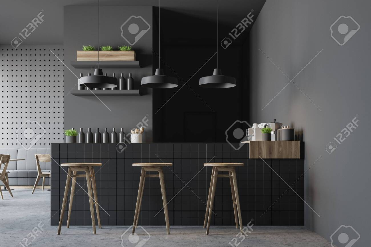 Interior Of Modern Pub With Gray Walls Concrete Floor Gray Stock Photo Picture And Royalty Free Image Image 128454577