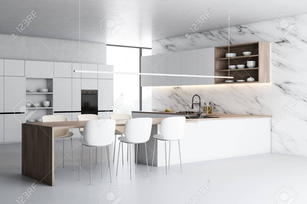 Corner Of Modern Kitchen With White Marble Walls White Floor Stock Photo Picture And Royalty Free Image Image 128454989