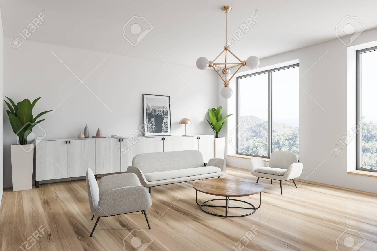 Excellent Corner Of Modern Living Room With White Walls Wooden Floor Theyellowbook Wood Chair Design Ideas Theyellowbookinfo