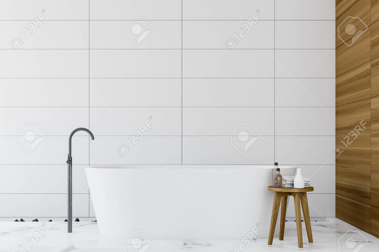 Interior Of Minimalistic Bathroom With White Tile And Wooden Stock Photo Picture And Royalty Free Image Image 128608166
