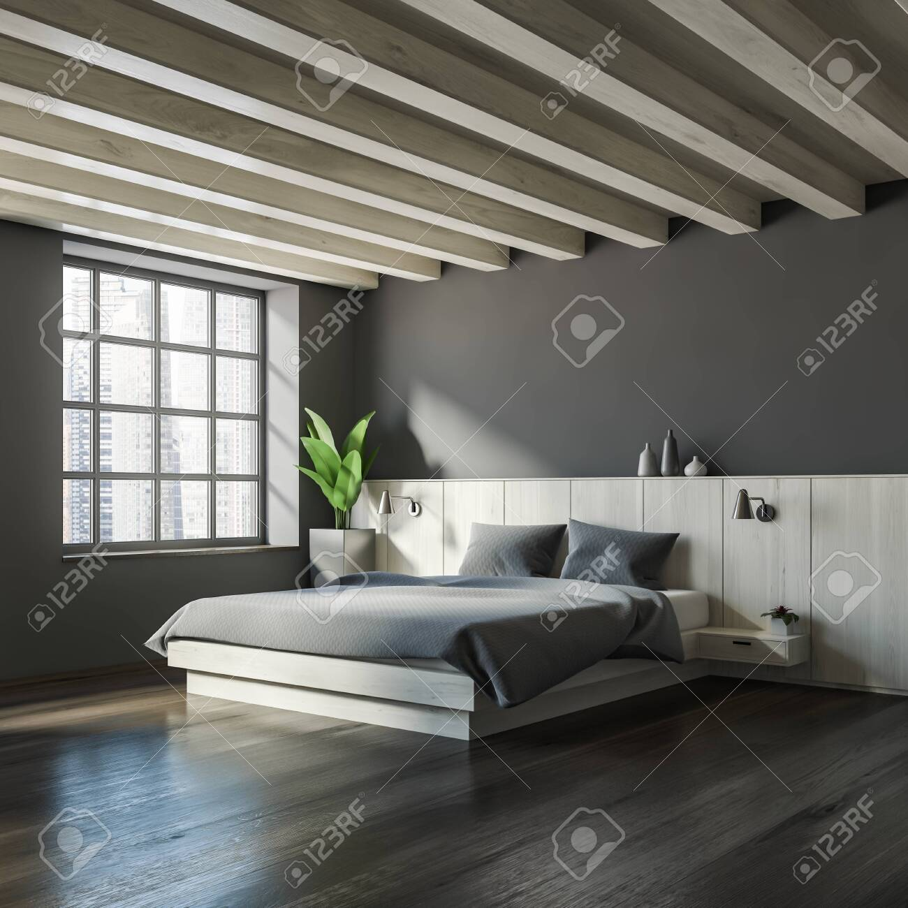 Corner of master bedroom with gray walls, dark wooden floor,..