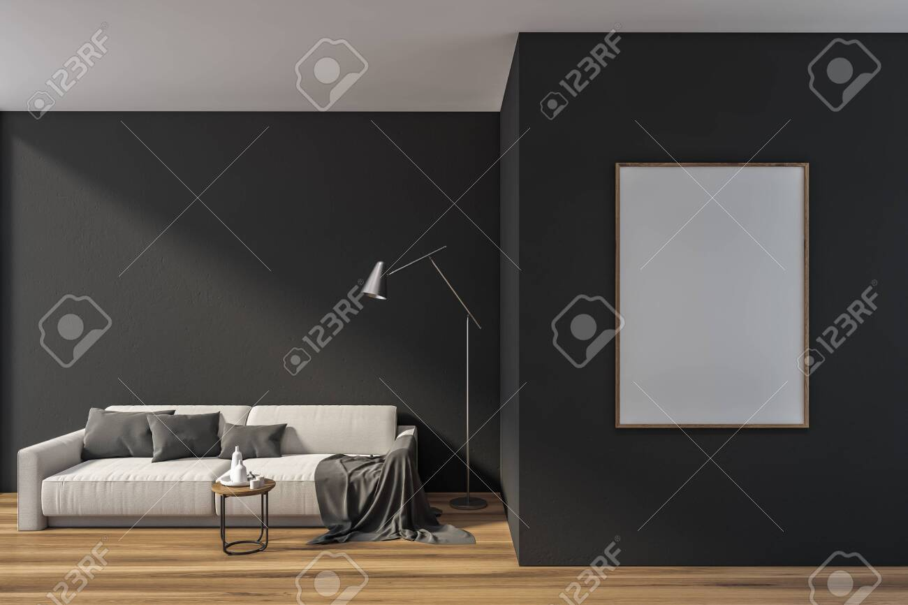 Interior of stylish living room with gray walls, wooden floor,..