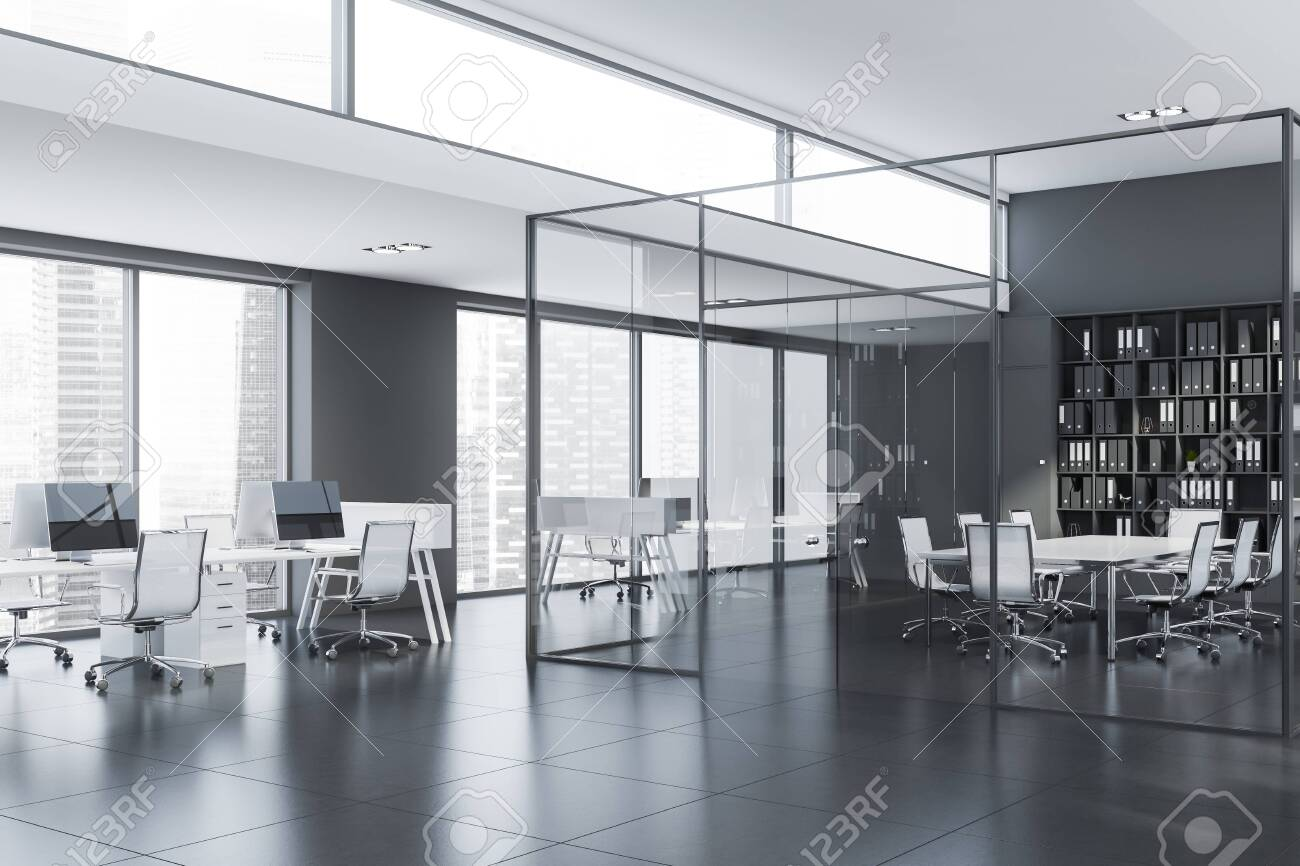 Picture of: Corner Of Modern Conference Room With Glass Walls Long White Stock Photo Picture And Royalty Free Image Image 128619117