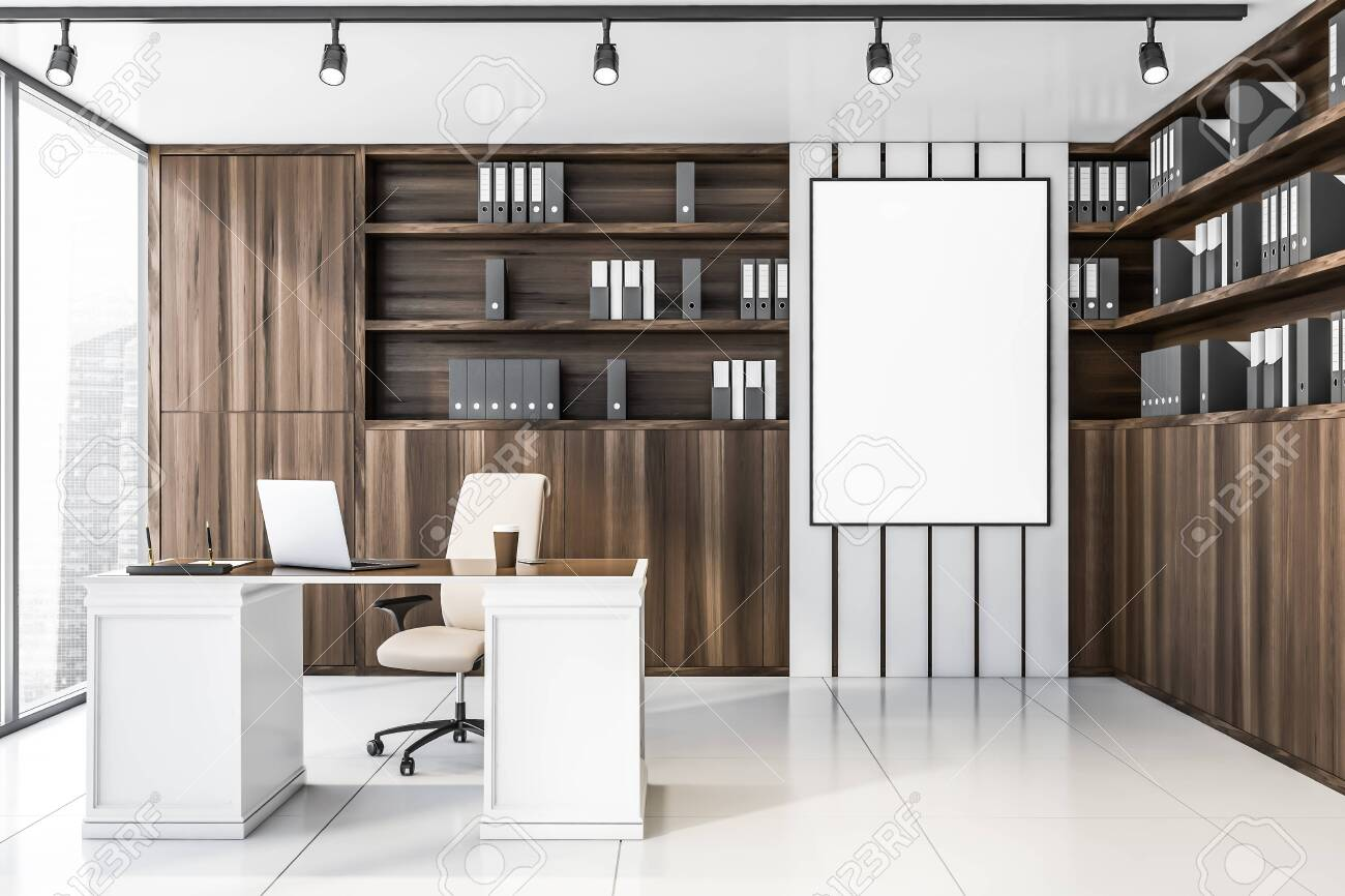 Interior of luxury CEO office with white tile floor, wooden bookcase..