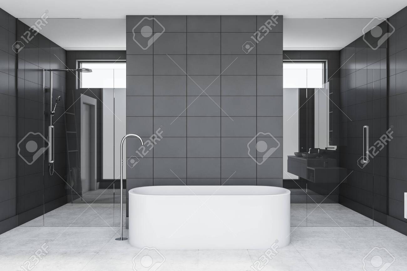 Interior Of Luxury Bathroom With Gray Tile Walls Concrete Floor