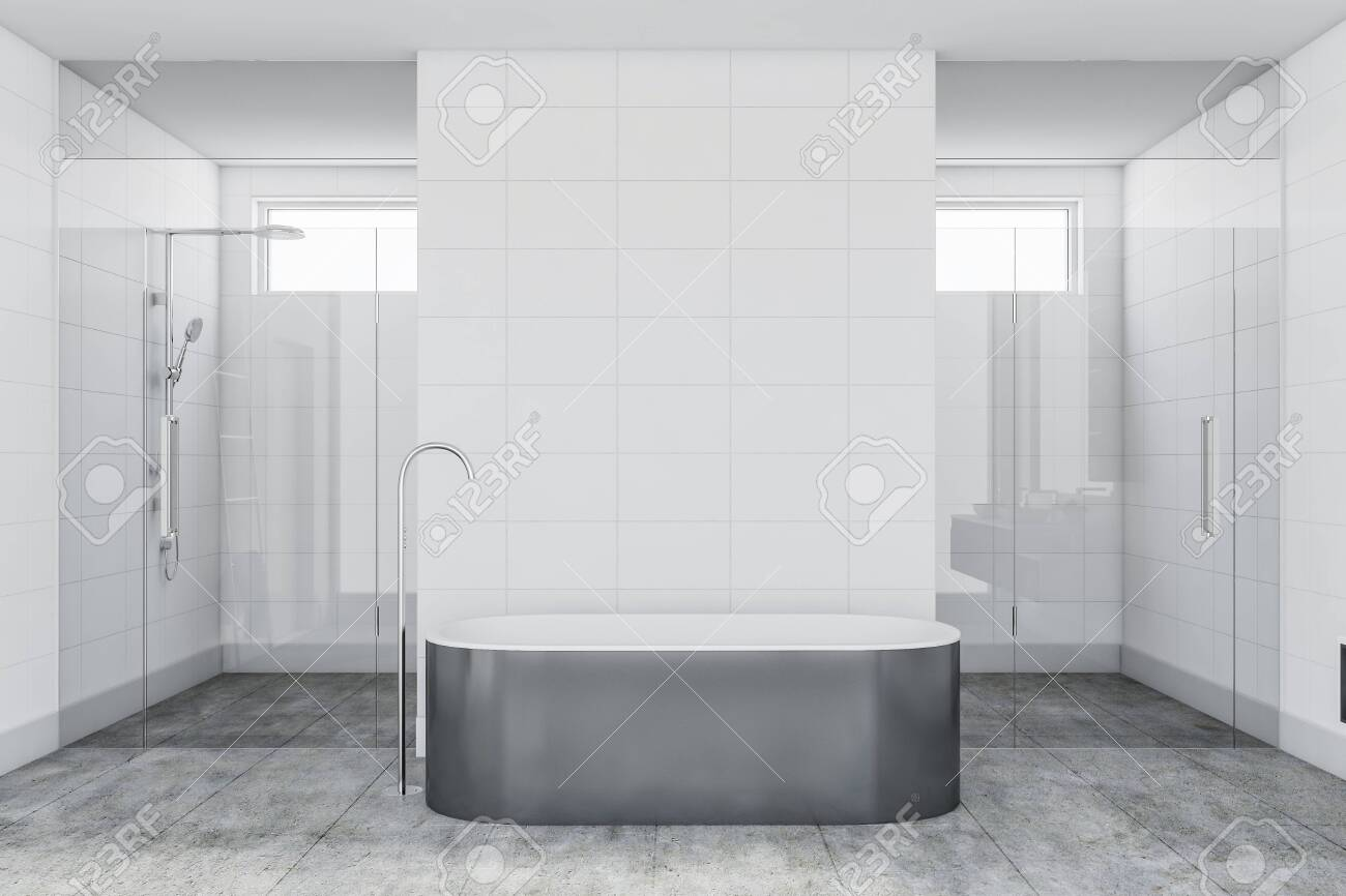 Interior Of Luxury Bathroom With White Tile Walls Concrete Floor