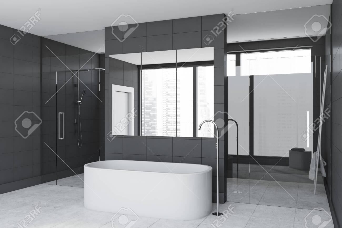 Corner Of Luxury Bathroom With Gray Tile Walls Concrete Floor