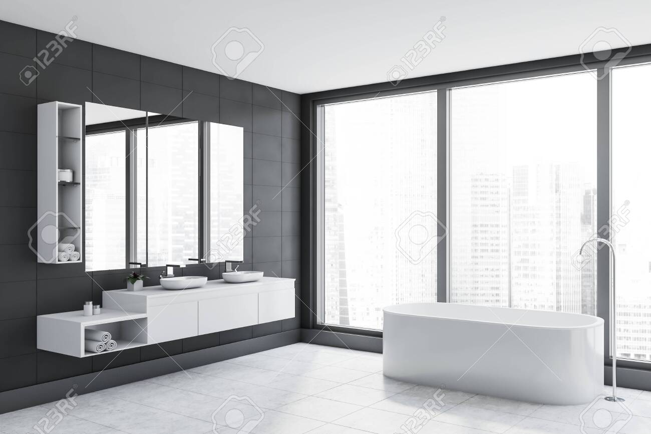 Corner Of Panoramic Bathroom With Grey Tile Walls Concrete Floor Stock Photo Picture And Royalty Free Image Image 129352041,Furnishing A New Home