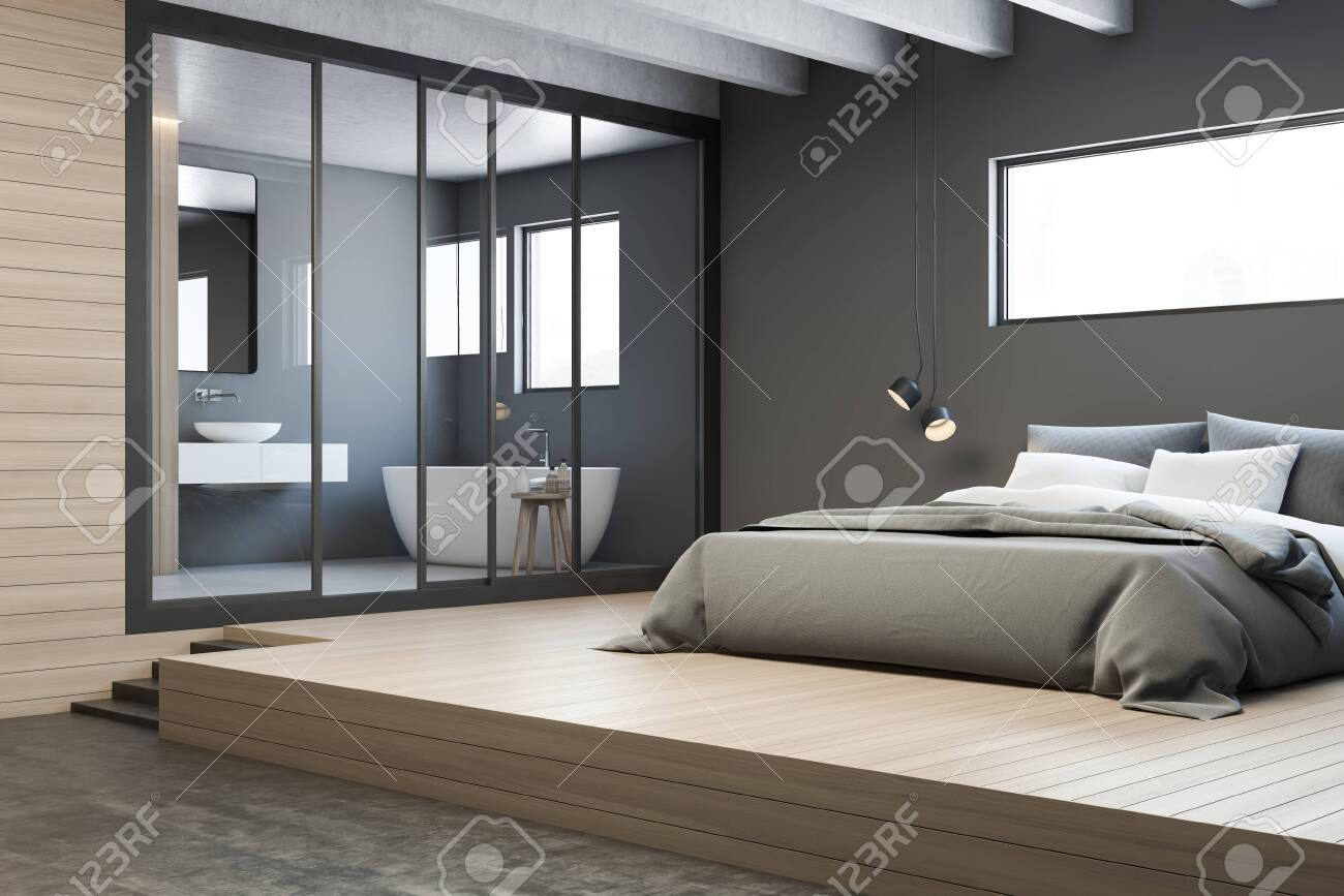 Corner Of Master Bedroom With Gray Walls Wooden Floor King Stock Photo Picture And Royalty Free Image Image 129352089